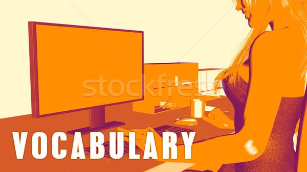 Woordenschat vrouw naar computer business klas Stockfoto © kentoh