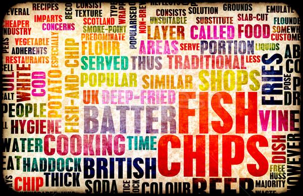 魚 チップ 英国の メニュー 食品 ストックフォト © kentoh
