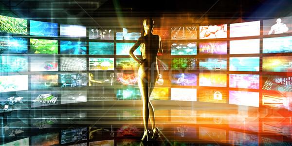 Média technológiák videofal internet televízió absztrakt Stock fotó © kentoh