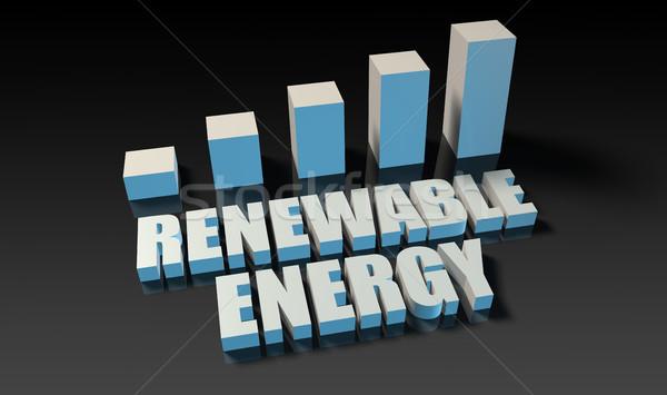 Hernieuwbare energie grafiek grafiek 3D Blauw zwarte Stockfoto © kentoh