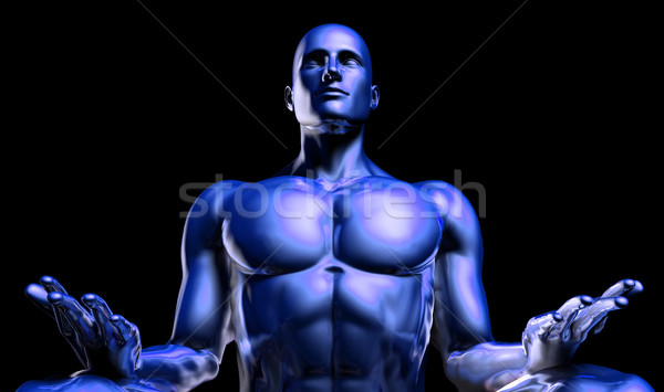 Man in Yoga Lotus Position Pose Stock photo © kentoh