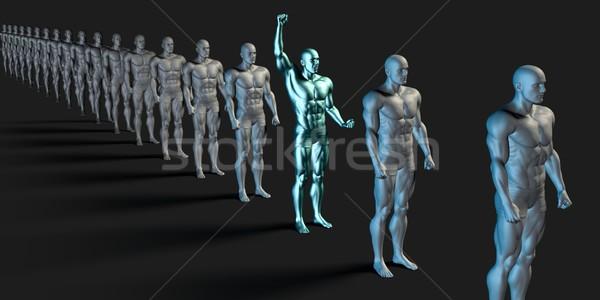 Especial empregado individual em pé fora multidão Foto stock © kentoh