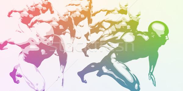 Stock photo: Athletes Running