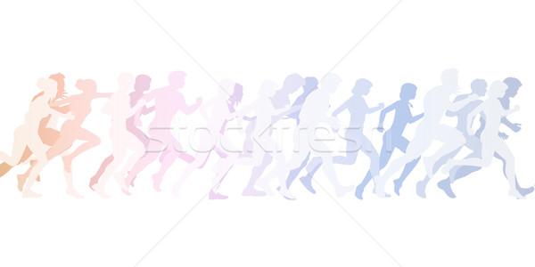 Ejecutando multitud personas trabajo deporte Foto stock © kentoh