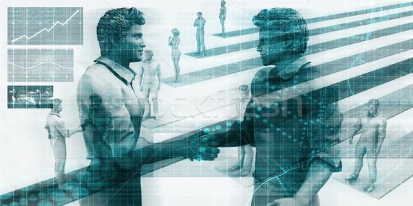 Faktyczny działalności działalności ludzi handshake Internetu spotkanie Zdjęcia stock © kentoh