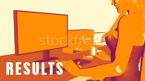 Resultaten vrouw naar computer business onderwijs Stockfoto © kentoh