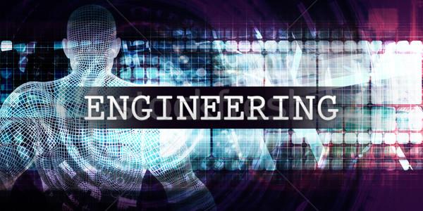 Engineering industrie futuristische business tech Blauw Stockfoto © kentoh