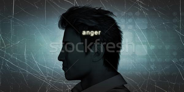 Homem raiva pessoal desafiar azul trabalhador Foto stock © kentoh
