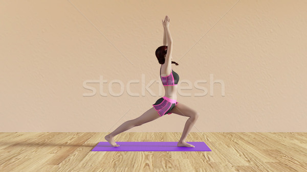 Yoga Class Warrior Salute Pose Stock photo © kentoh