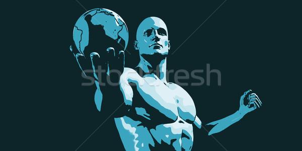 Businessman Executive Holding Globe Stock photo © kentoh