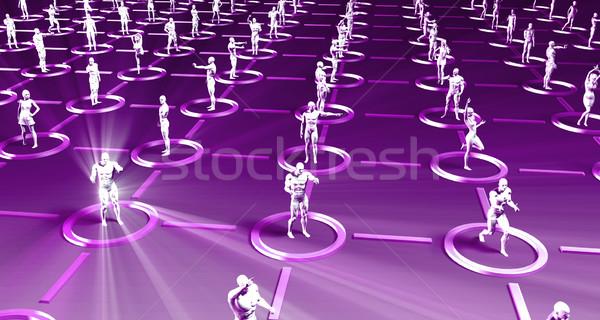 толпа 3D линия технологий весело Cartoon Сток-фото © kentoh