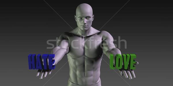 Gyűlölet szeretet választás különböző hit kék Stock fotó © kentoh