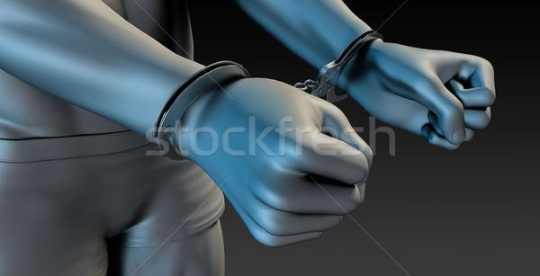 Férfi bilincs közelkép kéz háttér lánc Stock fotó © kentoh