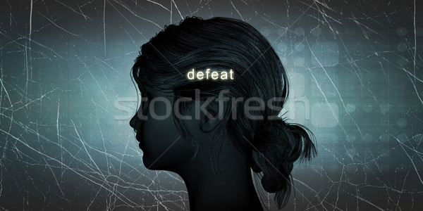 Mujer derrotar personal desafiar azul Foto stock © kentoh