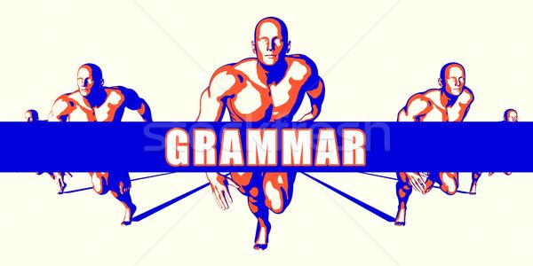 Grammatica concurrentie illustratie kunst achtergrond oranje Stockfoto © kentoh