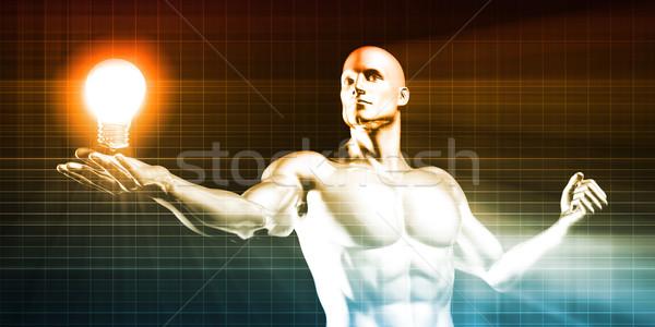 ストックフォト: 男 · 電球 · ハイテク · ビジネス · 背景