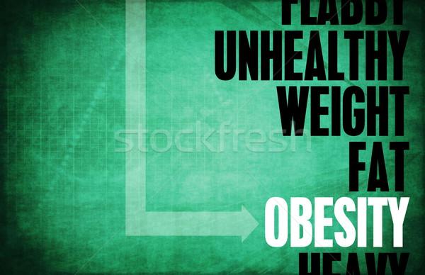 Obésité core principes fitness rétro formation Photo stock © kentoh