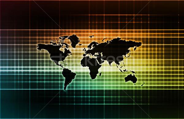 Commercio internazionale globale scala mappa internet servizio Foto d'archivio © kentoh