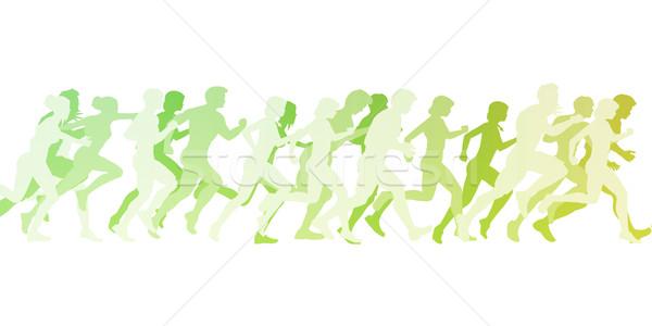 Marathon lopen illustratie witte vrouwen abstract Stockfoto © kentoh
