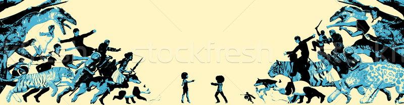 Levendig verbeelding kinderen fantasie wereld vrienden Stockfoto © kentoh