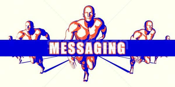 Messaging concurrentie illustratie kunst achtergrond oranje Stockfoto © kentoh