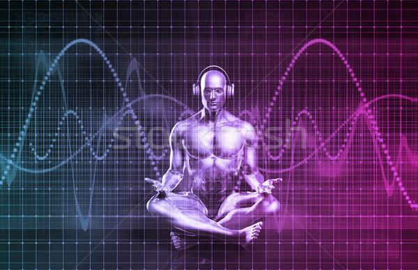 Ses gelecek kulaklık oynama müzik bilgisayar Stok fotoğraf © kentoh