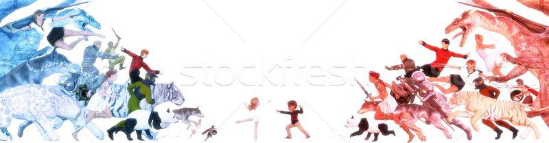 Oynamak zaman çocuklar oyuncaklar kalabalık arka plan Stok fotoğraf © kentoh
