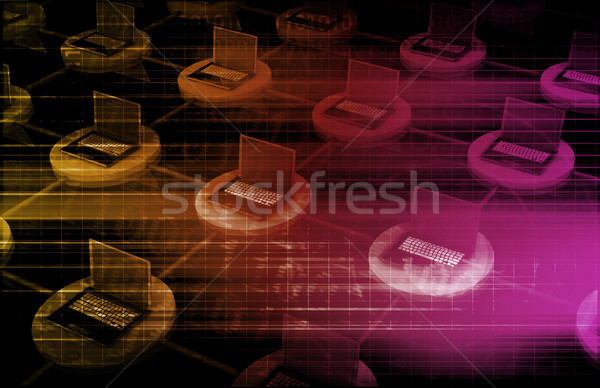 コンピュータ ネットワーク コンピュータ 一緒に インターネット モニター ストックフォト © kentoh