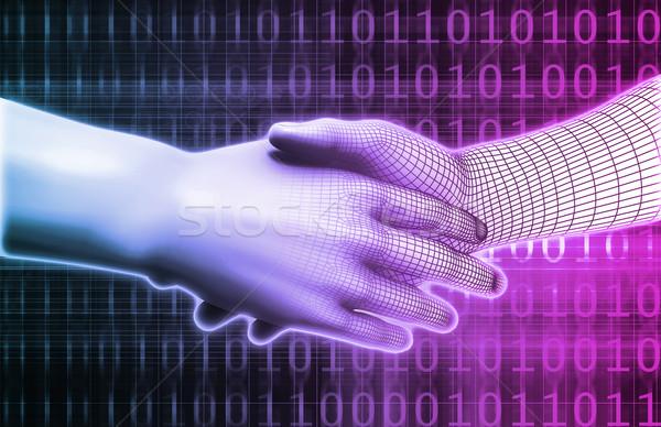 Integração dois parceiros de negócios computador abstrato fundo Foto stock © kentoh