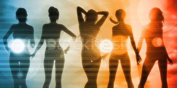 Beach Babes Sunset Stock photo © kentoh