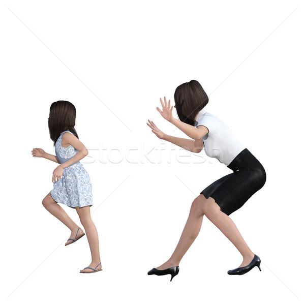 Stock fotó: Anya · lánygyermek · kölcsönhatás · anya · lány · könyv