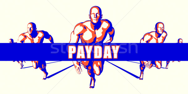 Betaaldag concurrentie illustratie kunst achtergrond oranje Stockfoto © kentoh