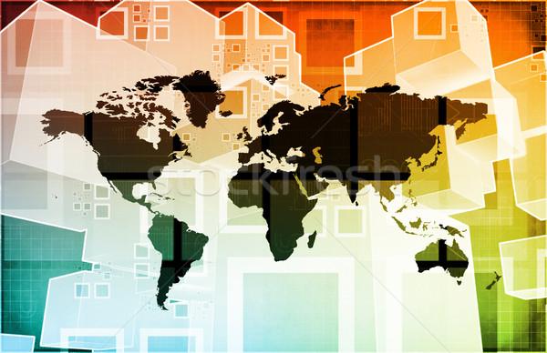 Global de negócios logística software apoiar arte rede Foto stock © kentoh