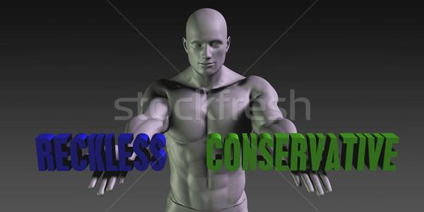 Vs konzervatív választ kettő lehetőségek férfi Stock fotó © kentoh