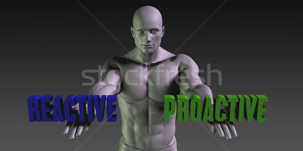 Vs proaktív választ kettő lehetőségek férfi Stock fotó © kentoh