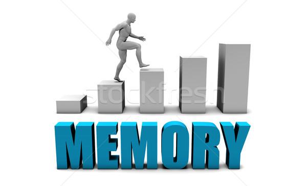 Emlék 3D kék oszlopdiagram grafikon oktatás Stock fotó © kentoh