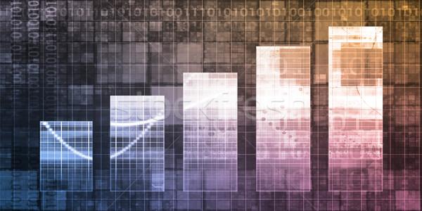 Digitale analytics staafdiagram grafiek kunst achtergrond Stockfoto © kentoh