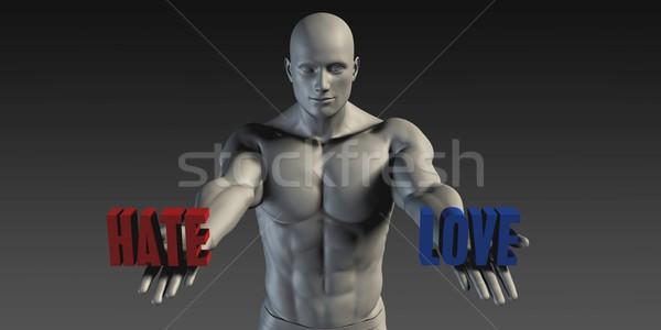 Gyűlölet szeretet választás különböző hit férfi Stock fotó © kentoh