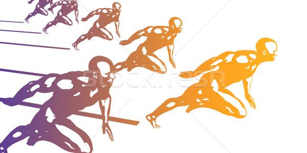 Running Silhouette Stock photo © kentoh