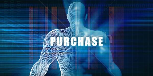 Zakup futurystyczny streszczenie działalności technologii biznesmen Zdjęcia stock © kentoh