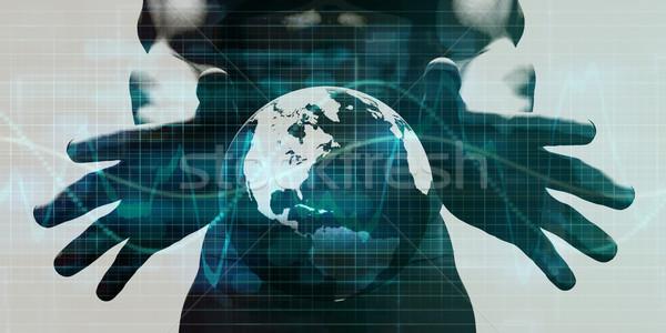 Stockfoto: Integratie · netwerk · handen · technologie · wereldbol