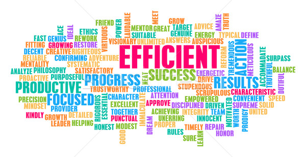 Efficiente word cloud bianco arancione verde blu Foto d'archivio © kentoh