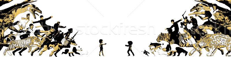 élénk képzelet gyerekek fantázia világ barátok Stock fotó © kentoh