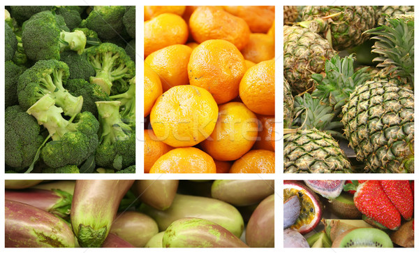 Gyümölcsök zöldségek választék választás kollázs gyümölcs Stock fotó © kentoh