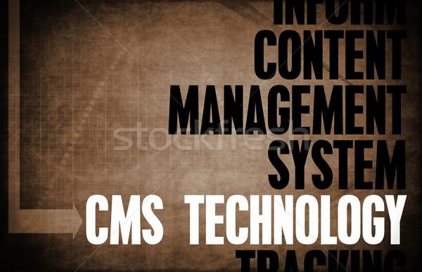 Cms tecnología núcleo principios negocios retro Foto stock © kentoh