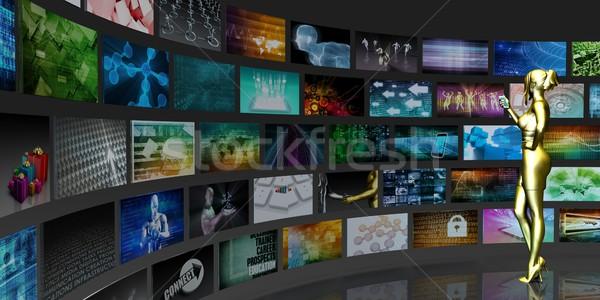 Tv izlemek toplama iş Stok fotoğraf © kentoh