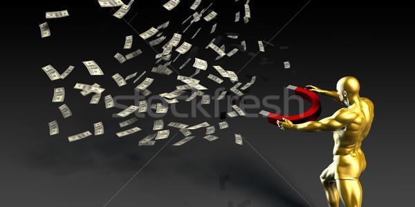 Imprenditore soldi magnete uomo contanti Foto d'archivio © kentoh
