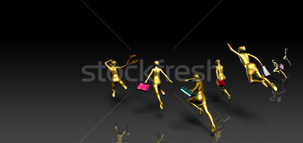 Crowd of People Running to a Sale Stock photo © kentoh