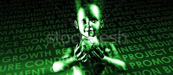 Futuro pianeta mani bambino mano terra Foto d'archivio © kentoh