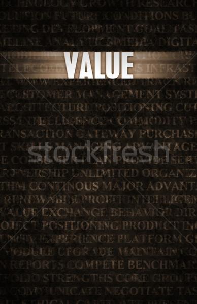Waarde business motivatie stenen muur muur industrie Stockfoto © kentoh